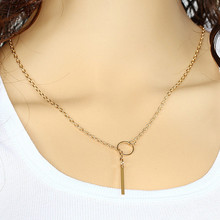 Fashion Metal Chain Bar Circle Lariat Triangle Punk Long Pendant Necklace