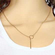 Fashion Metal Chain Bar Circle Lariat Triangle Punk Long Pendant Necklace
