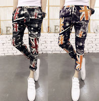 Men's Unique UK Flag Pattern Drawstring Waist Ankle Length Casual Trousers Pants