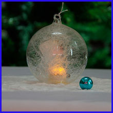Beautiful Clear Promotion Gifts Spun Glass Ball with Led Light