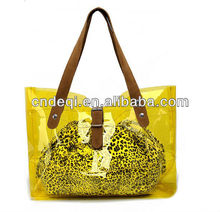Clear Handbag with Removable pu Insert&clear PVC tote bag