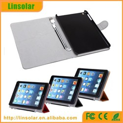 2015 new products leather Flip case 6000mAh battery cover with charging cable for ipad mini