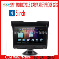 5 inch 2 in 1 waterproof motorcycle gps navigation bluetooth ddr128m 4gb free usa map