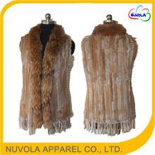 New design big raccoon fur collar grass rabbit real women real rabbit fur vest