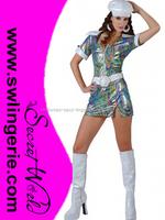 60s 70s Groovy Go Go Girl Mini Fancy Dress Costume C623
