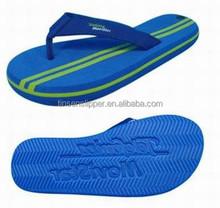 2015 EVA & fabric beach blue die cut men flip flop brand customized embossed/debossed sole slipper