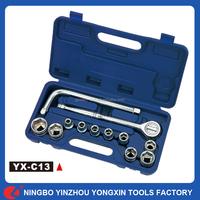 13PCS Repair Wrench Car Garage Blow Case Steel Tools L-Socket Universal Ratchet Spanner Socket Set