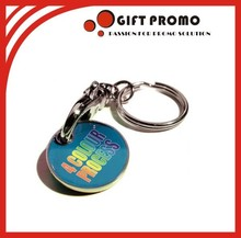 Hot Selling Full Colour Plastic Trolley Coin Keyring