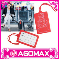 Low cost business gift trendy travel silicone custom bag tag