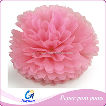 Pink tissue paper pom poms decoration various colors