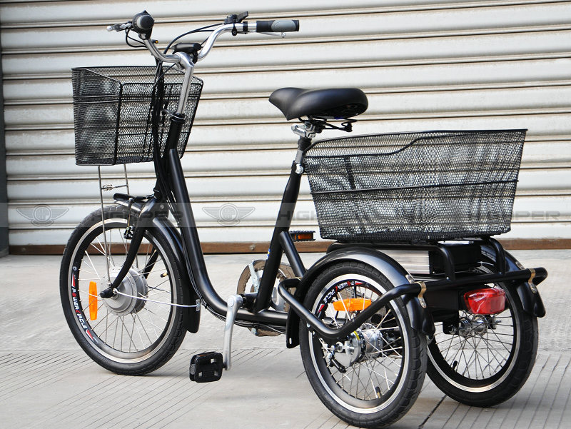 250 w cadre en acier lectrique tricycle adulte 3 roues. Black Bedroom Furniture Sets. Home Design Ideas