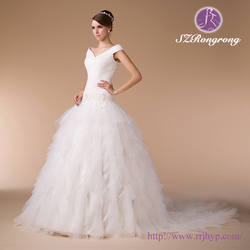 HM96751 Pleated Criss-Cross V-neck Bodice Cap Sleeve Ball Gown Ruffled Drop Waist Beaded Wedding Dress