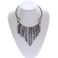 Gun black fancy long tassel chain necklace statement direct wholesale costume jewelry china