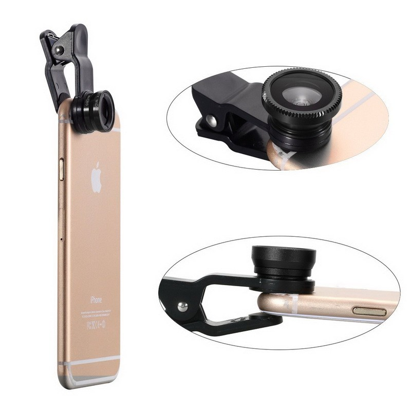 Clip universal 3 en 1 lente para teléfono móvil Ojo de pescado lente gran angular macro lente zoom de la cámara