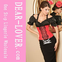 2015 Black Silk Red Lace Corset Red hot sexi photo image