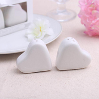 "wedding favor and giveaways--ceramic Favors ""A Dash of Love"" Ceramic Heart Salt & Pepper Shakers party favor gift 100set/lot"
