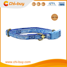 Neck Size 20~30cm Sea Turtle Printing Nylon Dog Collar Blue Color