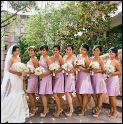 2015 QUEEN BRIDAL latest girl elegant short pink bridesmaid dresses
