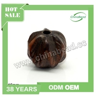 Good Quality Handmade Carved Hardwood Beads, Brown, Agarwood Beads