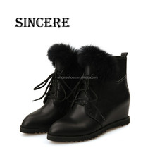 Plush Lining Lace Up Winter Latest Style Comfortable Women Wedge Snow Boots
