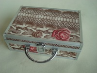 Flower makeup traveling case with lock,china cosmetic case with mirror, vintage cosmetic cases with elastic band