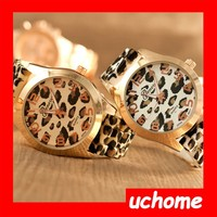 UCHOME Fashion watch Lady GENEVA Gold Plated Sexy Leopard quartz Silicone watch women jelly wrist watches