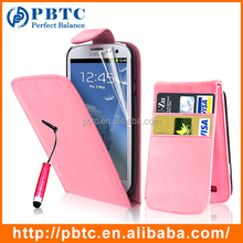Set Screen Protector Stylus And Case For Samsung Galaxy S3 I9300 , Pink Leather Cell Phone Wallet