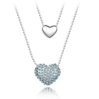 Yiwu Wholesale Market Best Selling Double Silver Heart Charm Ball Chain , Best Friend Heart Necklace, Fashion Jewelry Hong Kong