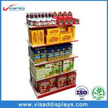 Double sided supermarket metal food display shelf