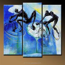100%handmade beautiful modern sport 3 panel oil painting on canvas