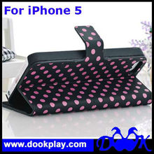 Flip Cover For iPhone 5 5G Cute Pola Dot Leather PU Case
