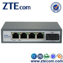 unmanageable 5 port 10/100Mbps 120W network poe switch with 1 fiber optical fiber switch