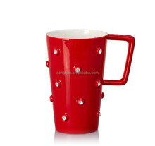 high quality wholesale creative cheap tall porcelain coffee mug with diamond stone