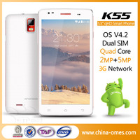 5.5 inch big touch screen mobile phone made in China 5.5 inch IPS Quad core mtk6582 1GB Ram