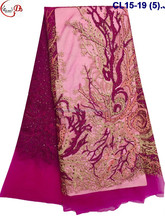 New Year wholesale fuschia trunk pattern design tulle lace with many stones retail graceful french net lace evening dress fabric