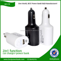 HC-C9 Multifunction 2 in 1 mobile phone 2200mAh battery portable car charger power bank