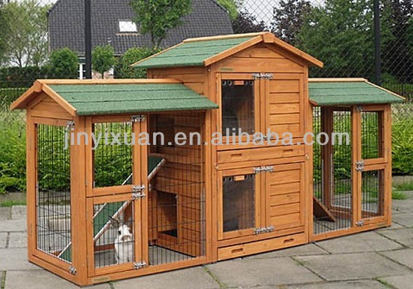 Special design double decker rabbit hutch with double for Wooden rabbit hutch plans