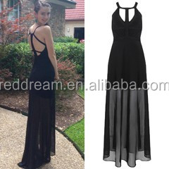 long gown in black sexy backless evening dress