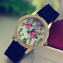 cheap silicone wrist watches ladies custom women silicone watches with stone nice flower face ladies stone silicone watches