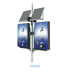 double side static lamp pole light box with solar power outdoor signs