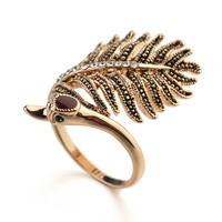Cute ring of Leaf ring with letter ring fashion ring finger rings photos of Coffee gold models ring for women