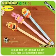 New custom cartoon design pen topper, factory cheap price soft rubber pen topper