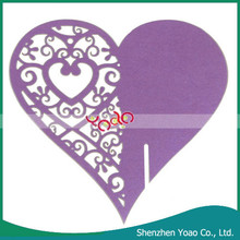 Wedding Party Decoration Laser Cut Heart Shaped Wine Glass Place Cards