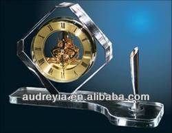 Table decoration crystal clock for promotional gifts