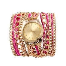 Popular Hawaiian Style Rhinestone Metal Chain Quartz Women Bracelet Fashion Watches