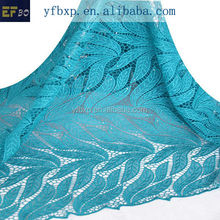 Dress design teal blue wedding embroidery lace fabric/ 2015 african embroidery fabric/ polyester guipue chemical lace for dress