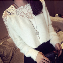W60043V 2015 autumn winters lace stitching render unlined upper garment of female sweaters mohair pullovers joker