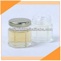 2 oz.Clear Hexagon Glass Jar with Metal Lid.