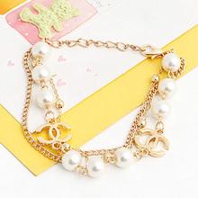 chain link various designs style fashion artificial fashion alloy pearl bracelet L1023