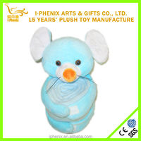Soft material cute animal mouse shape lovely cheap animal head plush baby blanket